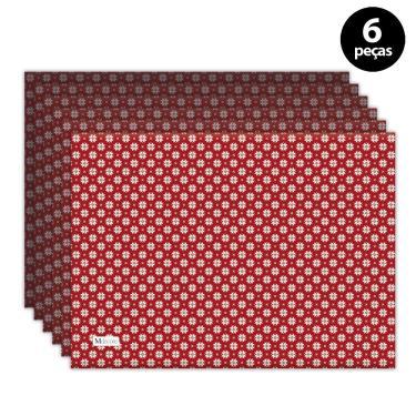 Imagem de Jogo Americano Mdecore Natal Flocos de Neve 40x28 cm Vermelho 6pçs