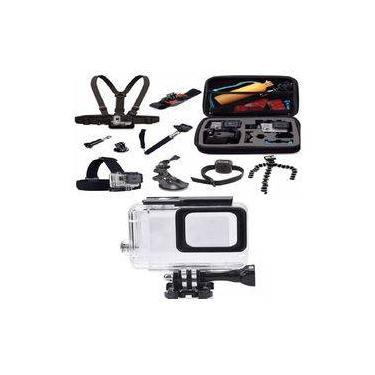 Kit Gopro 5 6 7 Hero Case Ventosa Estanque Bastão Tripod Boia Suportes Peito Cabeça Pulso Pulseira Para Controle Tripé