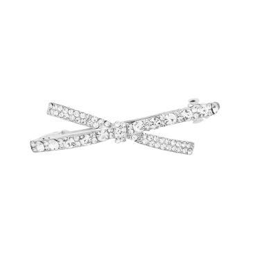 Presilha metal strass laço prata