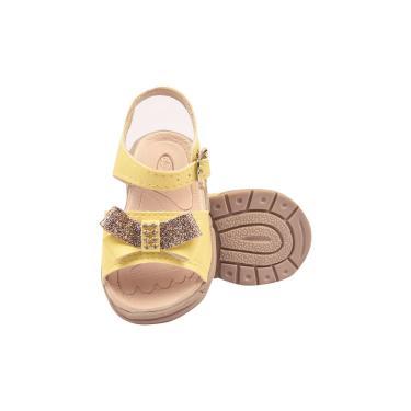 Imagem de Sandália Ortopédica Papete Infantil Menina Laço Metalizado Amarelo  feminino