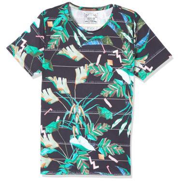 Colcci Camiseta Slim Full Print: Folhas Neon, P, Marinho/Azul/Verde/Rosa/Laranja/Off/Marrom/Cinza