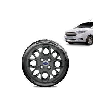 Imagem de Calota Ford Ka Sedan 2015 16 17 18 Aro 14 Grafite Fosca Emblema Prata