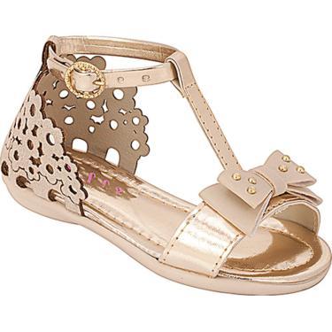 Sandália  Plis Calçados Florzinha Marfim com Dourado  menina