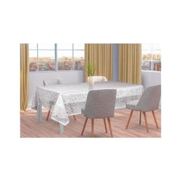 Imagem de Toalha de Mesa Retangular Renda Branca Floral Interlar 6 lugares 150x220cm