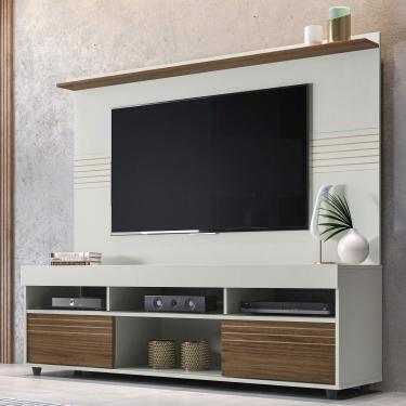 Rack com Painel Para TV 60 Polegadas Samba 1.6 Yescasa Off White/Nogueira