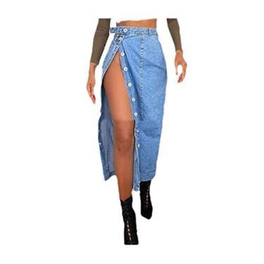 Saia feminina Zimaes moderna dividida com ajuste slim jeans com botões, Azul, Small