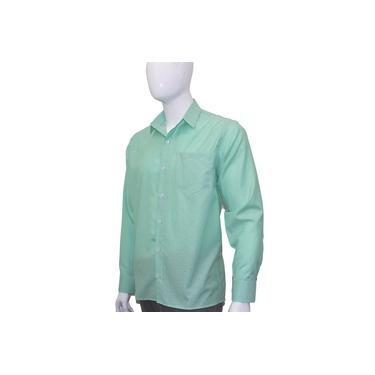 Camisa Social Masculina Manga Longa Verde Bom Pano