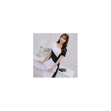 New Moda Estilo coreano de manga curta Vestido Feminino apertado vestido Patchwork