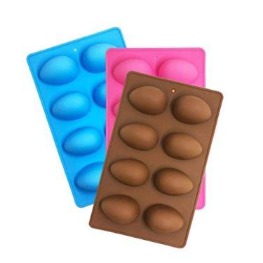 Moldes de silicone para ovos de Páscoa, molde de ovo de Páscoa, molde de chocolate de silicone de ovo, molde de silicone de coelho para bombas de cacau e cascas de chocolate a ovos quebráveis - preencha com peeeps, doces, bolo/Marshmallows (3 peças)