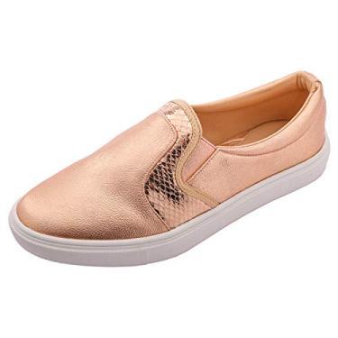 Feversole sapato mocassim casual sem cadarço feminino, Rose Gold Snake, 9