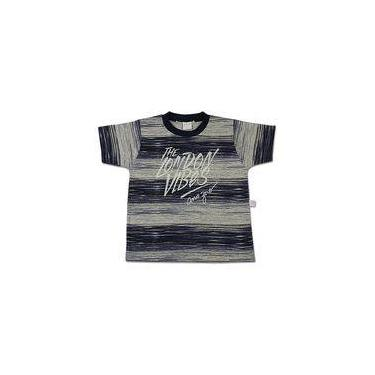 Camiseta Infantil Malha Mescla Estampada London Vibes - Marinho