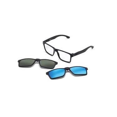 a51182a6e6472 Armação Óculos Grau Mormaii Swap M6057Ace56 Preto Fosco Clip On Polarizado