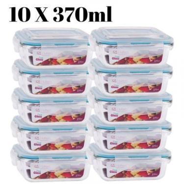 Conjunto 10 Potes Vidro Hermético mantimentos marmita 370ml - Casa lin