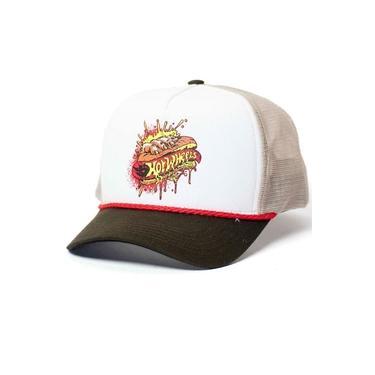Boné Trucker Hot Wheels - Logomania - Hot Dog - Branco / Bege