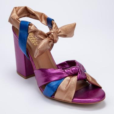 Sandália Vértice Salto Grosso Metalizada Colorida Multicolorido  feminino