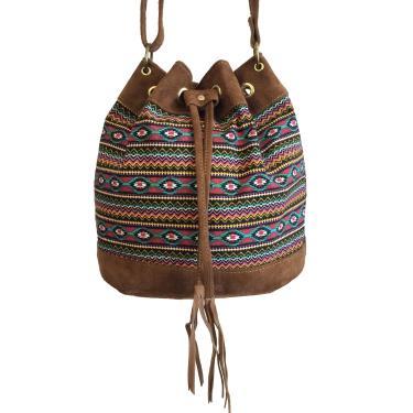 Bolsa feminina tipo saco transversal Étnica alça regulável