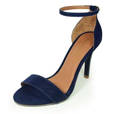 Sandália Salto Alto Fino Luiza Sobreira Nobuck Azul Marinho Mod. 489
