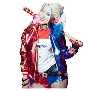 Imagem de Fantasia Zuunky Compatível com Fantasia Jaqueta Arlequina Dc Harley Quinn Festa Original Cosplay (XG)