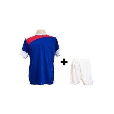Uniforme Esportivo com 14 camisas modelo Sporting Royal/Vermelho/Branco + 14 calções modelo Madrid Branco +