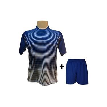 Uniforme Esportivo com 12 camisas modelo City Royal/Branco + 12 calções modelo Madrid + 1 Goleiro +
