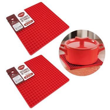 Kit 2 Descanso de Panela em Silicone Vermelho Quadrado 17x17 - Clink