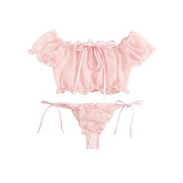 Avanova Conjunto de lingerie sexy feminina, conjunto de sutiã e calcinha de malha com acabamento de babados, rosa, L
