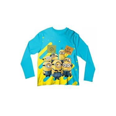 Camiseta Infantil Minions Azul e Amarelo ML