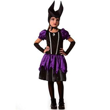 Imagem de Fantasia Malévola Bruxa Má Com Chapéu de Halloween Infantil Feminino G 9-10