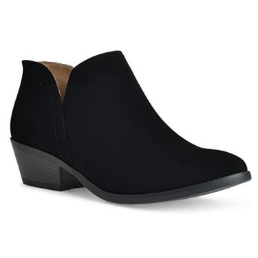 Imagem de Bota feminina Madeline Western com bico redondo e amêndoa – Salto baixo – Zíper – Bota casual no tornozelo, Black Nubuck, 8.5