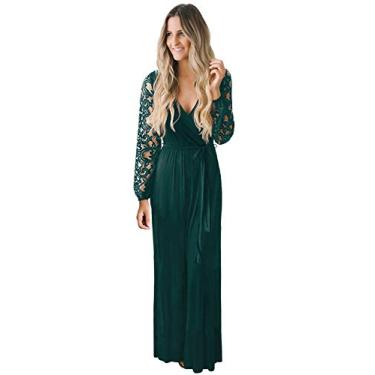 Zattcas Vestido longo de renda floral vintage com manga comprida e gola V, Blackish Green, Large