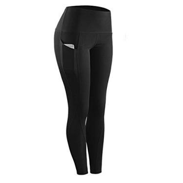 SAFTYBAY Calça legging feminina de cintura alta com controle de barriga, calça de ioga com bolsos, legging capri (preta, G)
