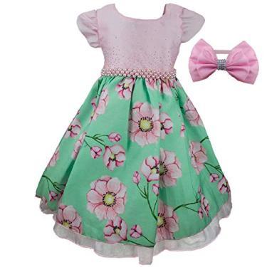 Vestido de Festa Bebê Luxo Primavera Floral Com Tiara P - 1