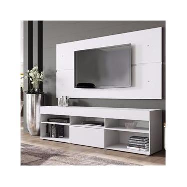 Rack com Painel para TV até 50 Polegadas 1 Porta Basculante Miami Madesa Branco
