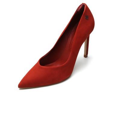 Scarpin Couro Capodarte Camurça Vermelho Capodarte 4008379 feminino
