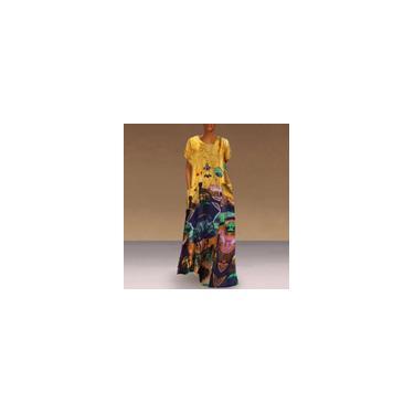 Vonda 3 cores feminino manga curta O pescoço algodão linha A Maxi vestido verão casual solto camiseta vestido plus size Amarelo S