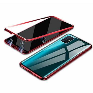 Hicaseer Capa para Galaxy M51, capa protetora transparente antiarranhões magnética antiderrapante para Samsung Galaxy M51 - vermelha