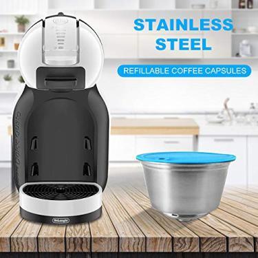 Ajcoflt Cápsulas de café recarregáveis de aço inoxidável, filtros para cápsulas de café de 10 ml, capacidade para máquina de café Dolce Gusto EDG466 EDG606 EDG305 Mini Me EDG626