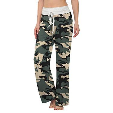 LONGYUAN Calça de pijama feminina confortável casual com elástico e cordão Palazzo Lounge Calça pantalona para todas as estações, Camouflage, S