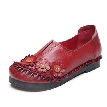 MFairy sapato feminino respirável Oxford mocassim sem cadarço moderno slip-on Driving sapato vintage floral, Vermelho, 5
