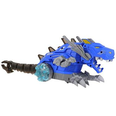 Toyvian Andando Dinossauro Robô de Brinquedo Spray Brinquedo Dinossauro Dinossauro Figura para Crianças Meninos Meninas 3-12 Anos (Azul)