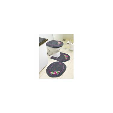 Imagem de Jogo de Tapetes de Crochê para Banheiro Bordado Colorido 3 Peças Cinza