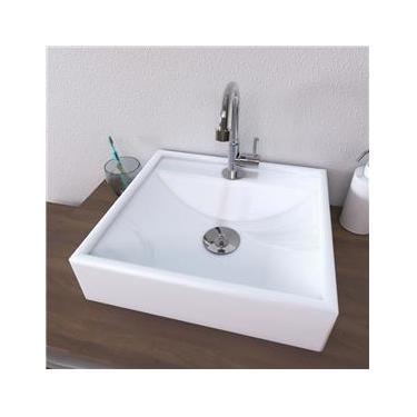 Cuba de Apoio Para Banheiro Retangular 40X38 Cm Ravena Branca