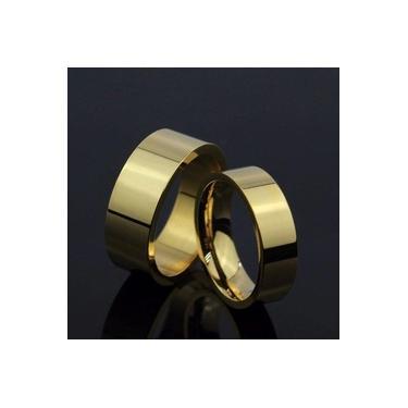 Imagem de Aliança De Aço Noivado Casamento Banhado Ouro 18k