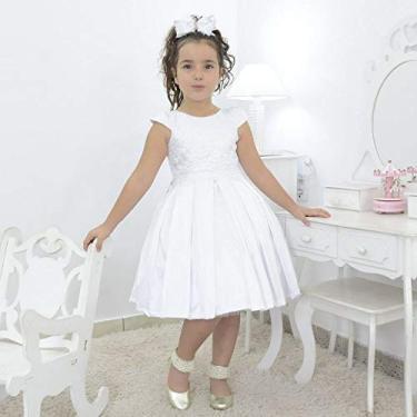 Vestido infantil branco com tule francês para batizado