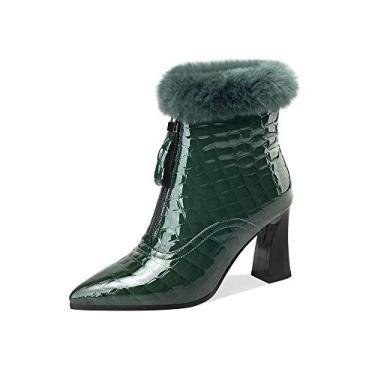 Imagem de TinaCus Bota feminina de couro envernizado bico fino feita à mão com zíper frontal salto alto carretel elegante bota de cano curto com pele, Verde, 8.5