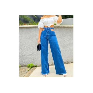 Calça Feminina Modelo Pantalona Jeans Abertura Na Cintura