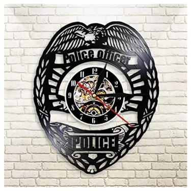 Imagem de Relógio com emblema de polícia com música e gravação de vinil, ideia de presente para amantes de música, homens, mulheres, adolescentes e crianças, arte com tema vintage exclusivo, preto, 30 cm