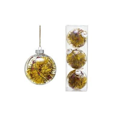 Conjunto 3 Bolas Decoradas para Árvore 10cm Transparente com Festão Dourado Espressione Christmas