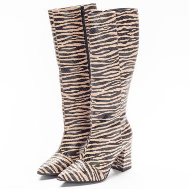 Bota Feminina Talita Cano Médio Zebra Amêndoa  feminino