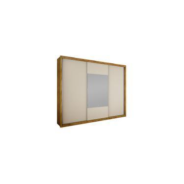 Imagem de Guarda-Roupa Casal 3 Portas com Espelho Arezzo Gold bg- Novo Horizonte - Freijo dourado / Off white